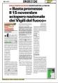 """Il Dubbio - """"Basta promesse - il 15 novembre sciopero nazionale dei vigili del fuoco"""""""