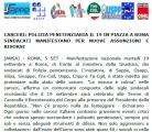 CARCERI: POLIZIA PENITENZIARIA IL 19 IN PIAZZA A ROMA SINDACATI MANIFESTANO PER NUOVE ASSUNZIONI E RISORSE